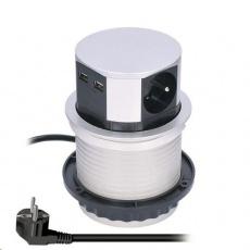 Solight výsuvný blok zásuvek, 3 zásuvky, 2x USB, kruhový tvar nízký, prodlužovací přívod 1,5m, 3 x 1mm2, stříbrný