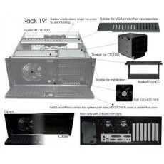 "IPC skříň 4U-600, 19"" Rack Black,bez zdroje"