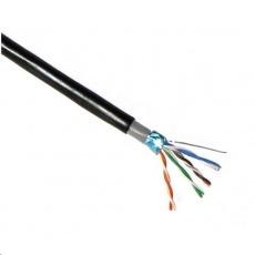 FTP kabel PlanetElite, Cat5E, drát, dvojitý venkovní PE+PVC, Dca, černý, 305m, cívka